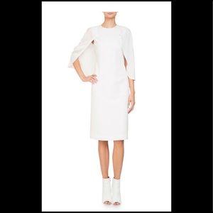 Givenchy Jewel Neck Cape Sleeve Georgette Dress